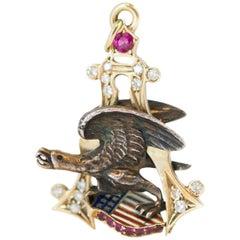 1950s American Eagle Diamond, 14 Karat Yellow Gold and Sterling Pendant