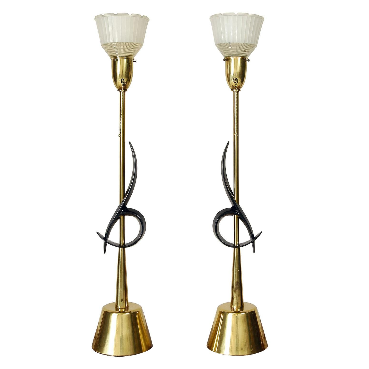 1950s American Mid-Century Modern Table Lamps Rembrandt Hollywood Regency, Pair
