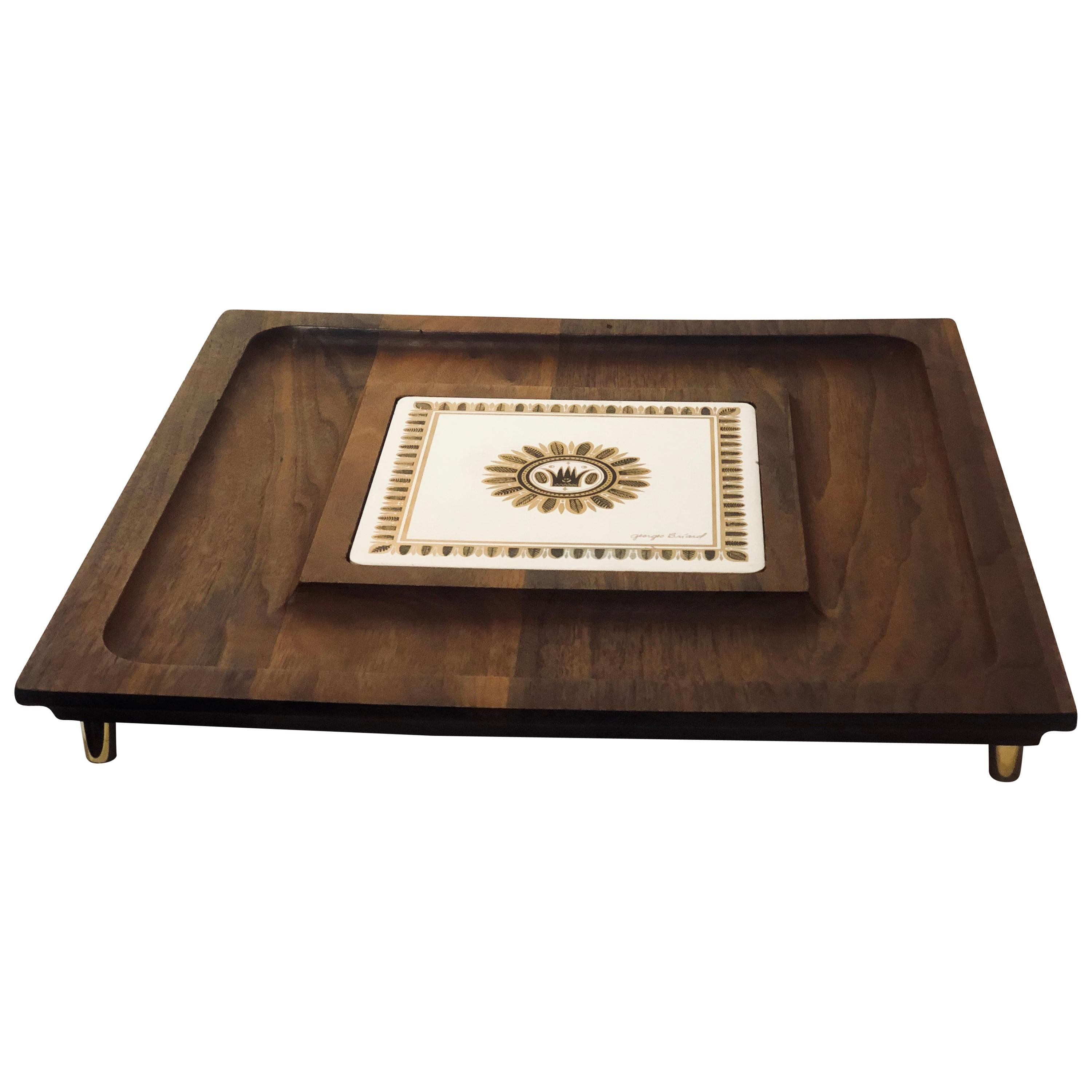 1950s American Midcentury Serving Tray by Georges Briard Signed