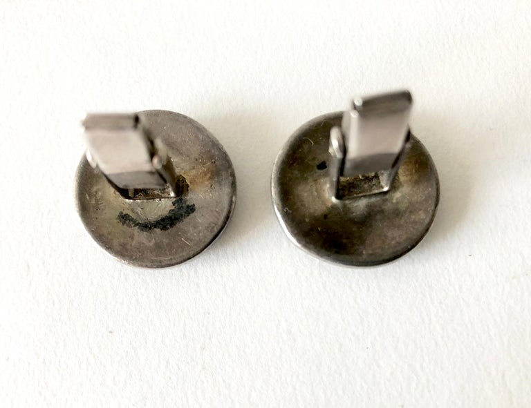 1950s American Modernist Sterling Silver Mother of Pearl Cufflinks In Good Condition For Sale In Los Angeles, CA