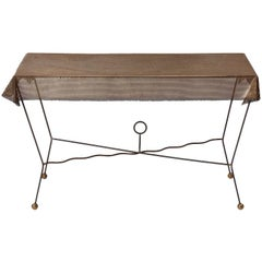 1950s American Perforated Steel, Iron and Brass Trompe L'oeil Table