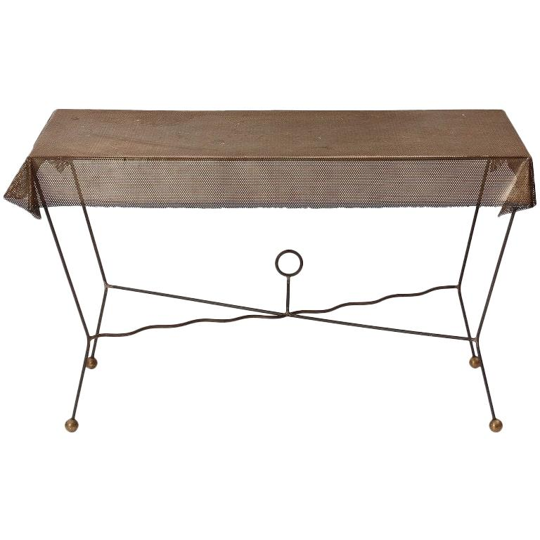 1950s American Perforated Steel, Iron and Brass Trompe L'oeil Table For Sale