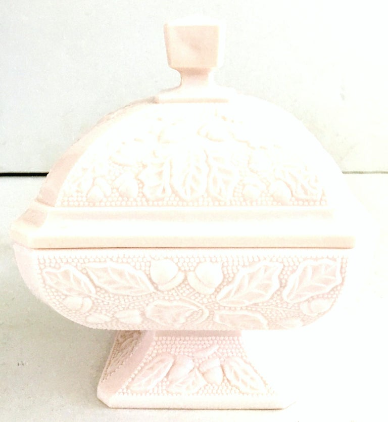 1950s American Pink Milk Glass Candy Dish and Footed Bowl Set of 2 7
