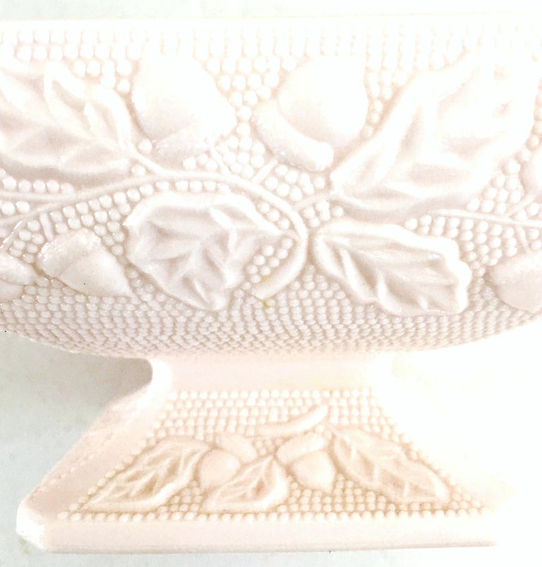 1950s American Pink Milk Glass Candy Dish and Footed Bowl Set of 2 8