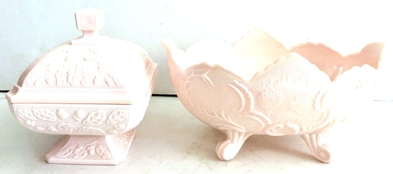 1950s American Pink Milk Glass Candy Dish and Footed Bowl Set of 2 In Good Condition In West Palm Beach, FL