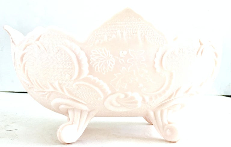 20th Century 1950s American Pink Milk Glass Candy Dish and Footed Bowl Set of 2