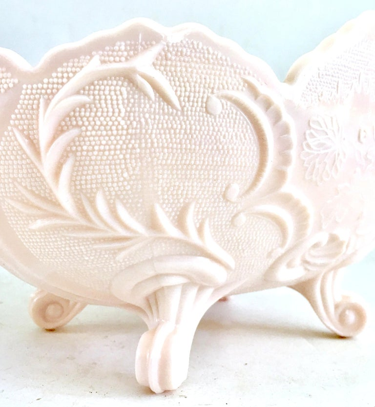 1950s American Pink Milk Glass Candy Dish and Footed Bowl Set of 2 2
