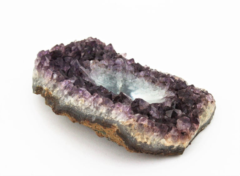 1950s Amethyst Geode Stone Hand Carved Bowl or Ashtray For Sale 4
