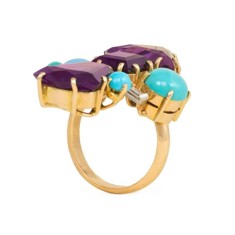1950s Amethyst, Turquoise and Diamond Ring of Geometric Design In Excellent Condition For Sale In New York, NY