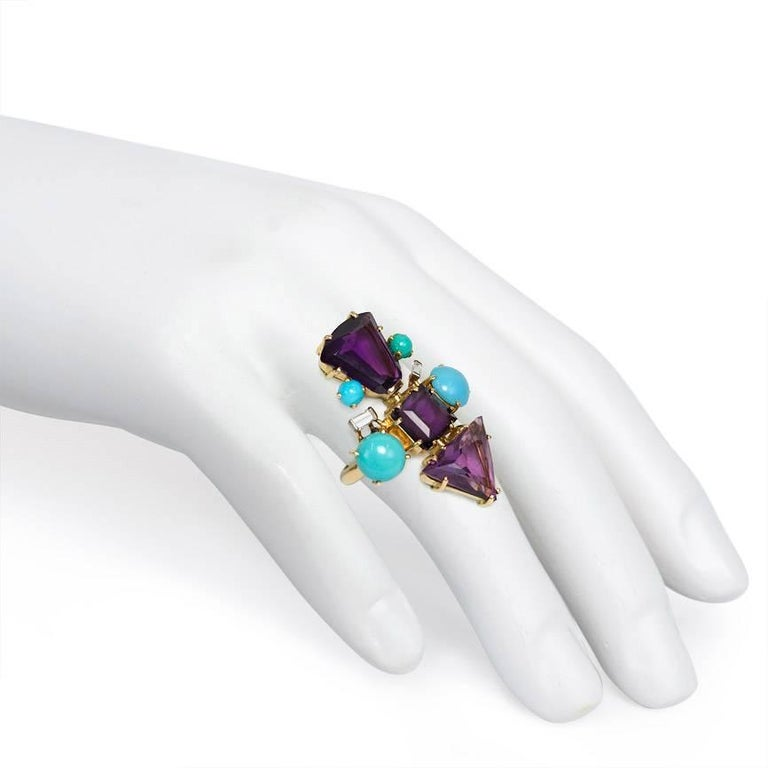 1950s Amethyst, Turquoise and Diamond Ring of Geometric Design For Sale 1