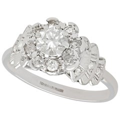 1950s and Contemporary 1.03 Carat Diamond and Platinum Cocktail Ring