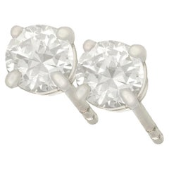 1950s and Contemporary Diamond and Platinum Stud Earrings