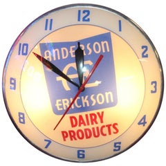 1950s Anderson Erickson Dairy Advertising Double Bubble Clock