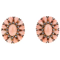 1950s Angel Skin Coral Earrings
