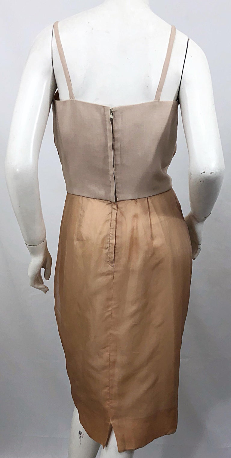 1950s Anita Modes Demi Couture Nude Blush Silk Vintage 50s Chiffon Dress For Sale 5