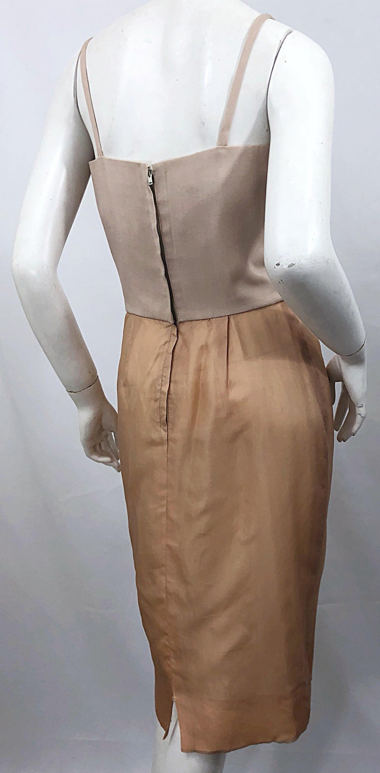 1950s Anita Modes Demi Couture Nude Blush Silk Vintage 50s Chiffon Dress For Sale 6