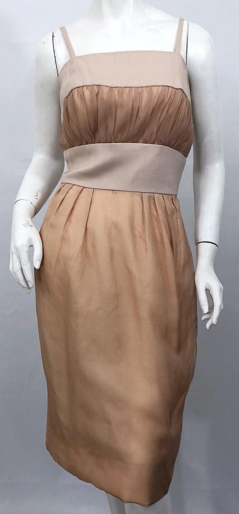 Brown 1950s Anita Modes Demi Couture Nude Blush Silk Vintage 50s Chiffon Dress For Sale