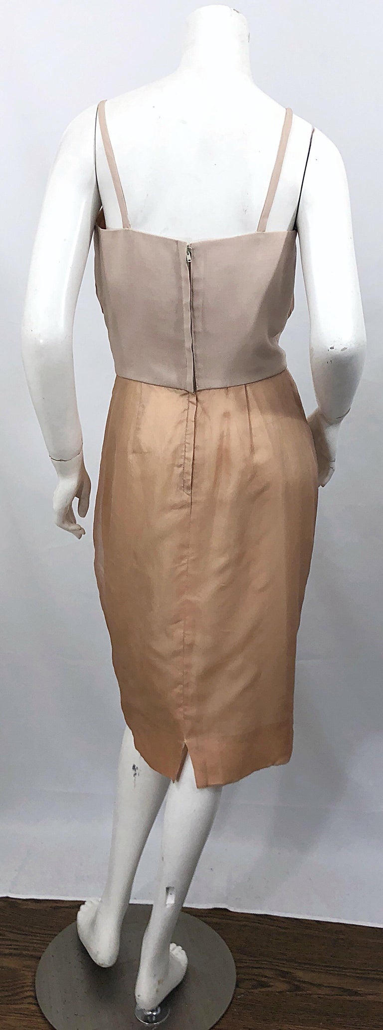 1950s Anita Modes Demi Couture Nude Blush Silk Vintage 50s Chiffon Dress In Excellent Condition For Sale In Chicago, IL