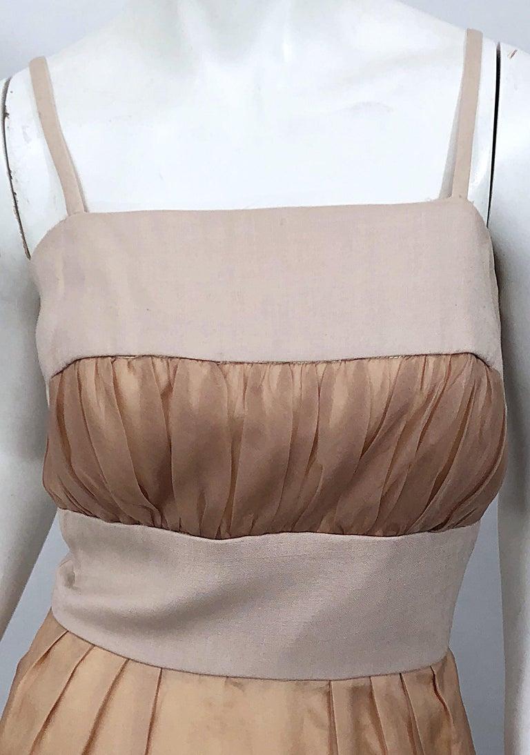 Women's 1950s Anita Modes Demi Couture Nude Blush Silk Vintage 50s Chiffon Dress For Sale