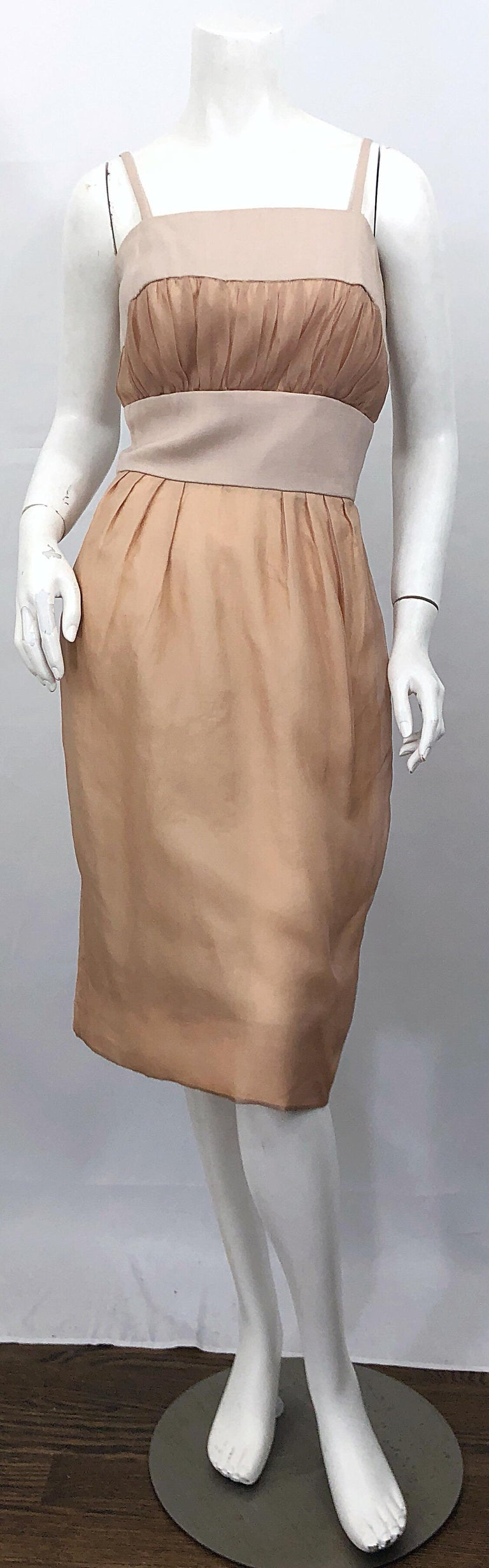 1950s Anita Modes Demi Couture Nude Blush Silk Vintage 50s Chiffon Dress For Sale 1