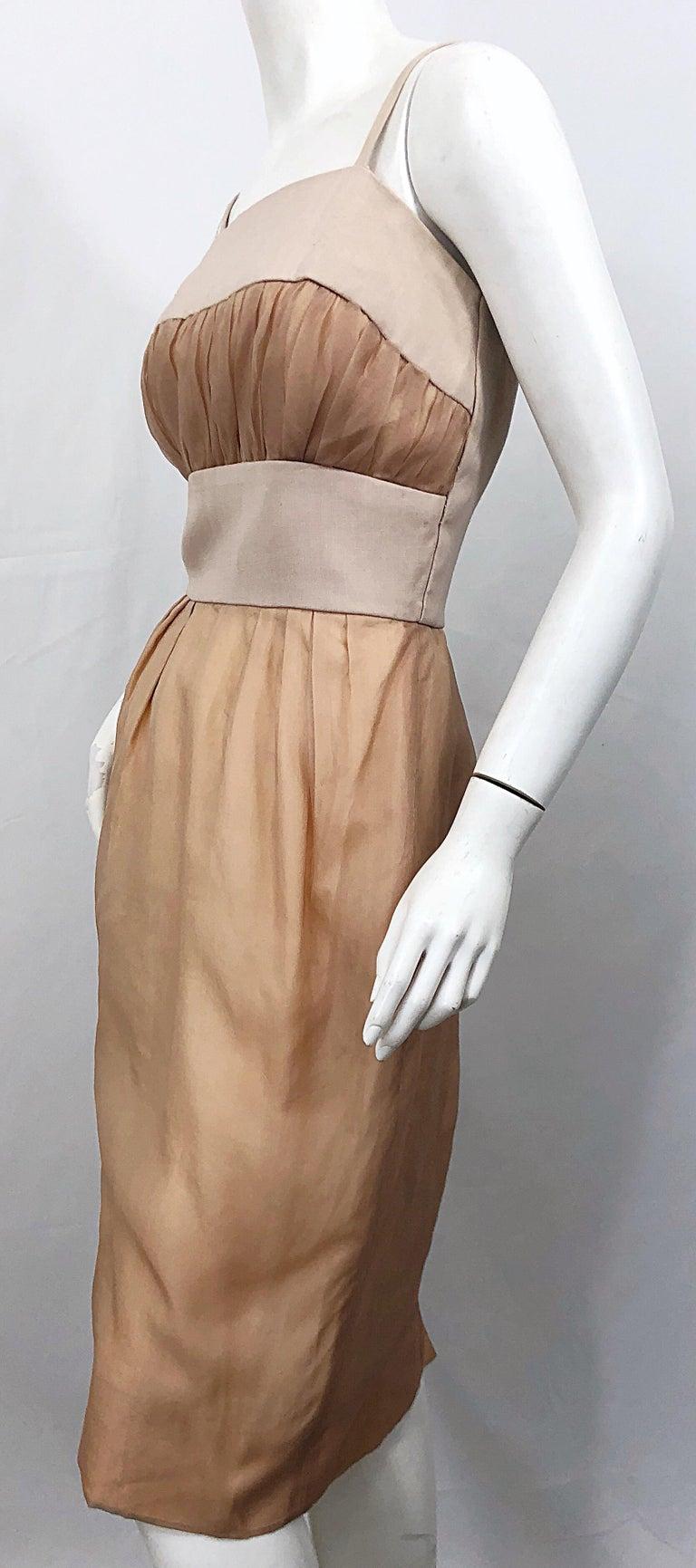 1950s Anita Modes Demi Couture Nude Blush Silk Vintage 50s Chiffon Dress For Sale 2