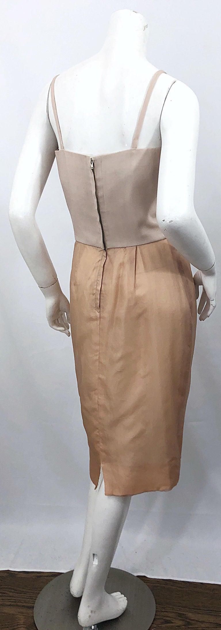 1950s Anita Modes Demi Couture Nude Blush Silk Vintage 50s Chiffon Dress For Sale 3