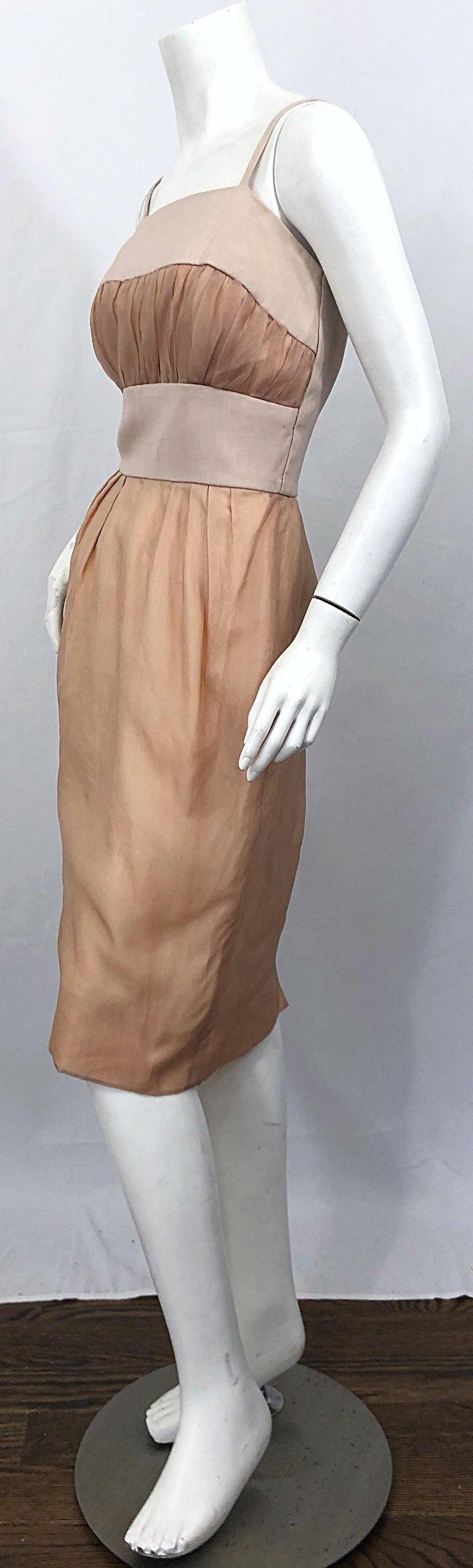 1950s Anita Modes Demi Couture Nude Blush Silk Vintage 50s Chiffon Dress For Sale 4