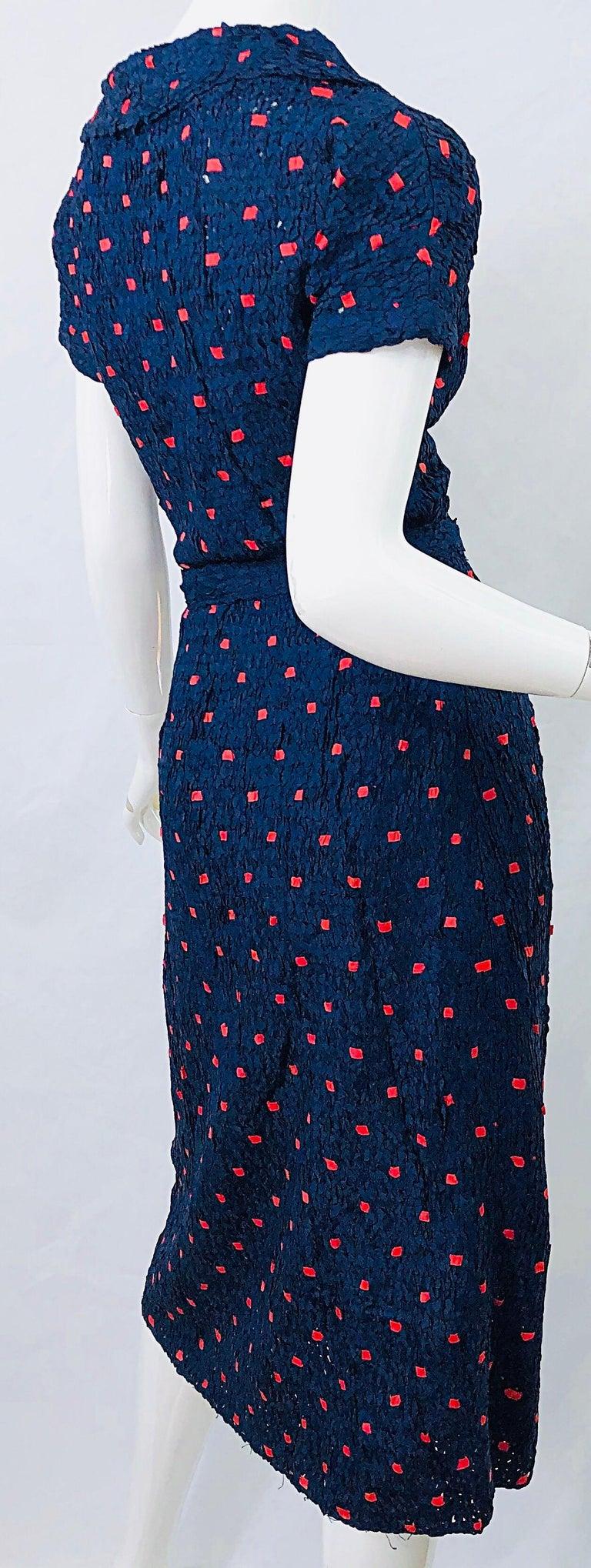1950s Ann Fleischer for I Magnin Hand Ribbon Knit Navy Blue + Red Vintage Dress For Sale 6