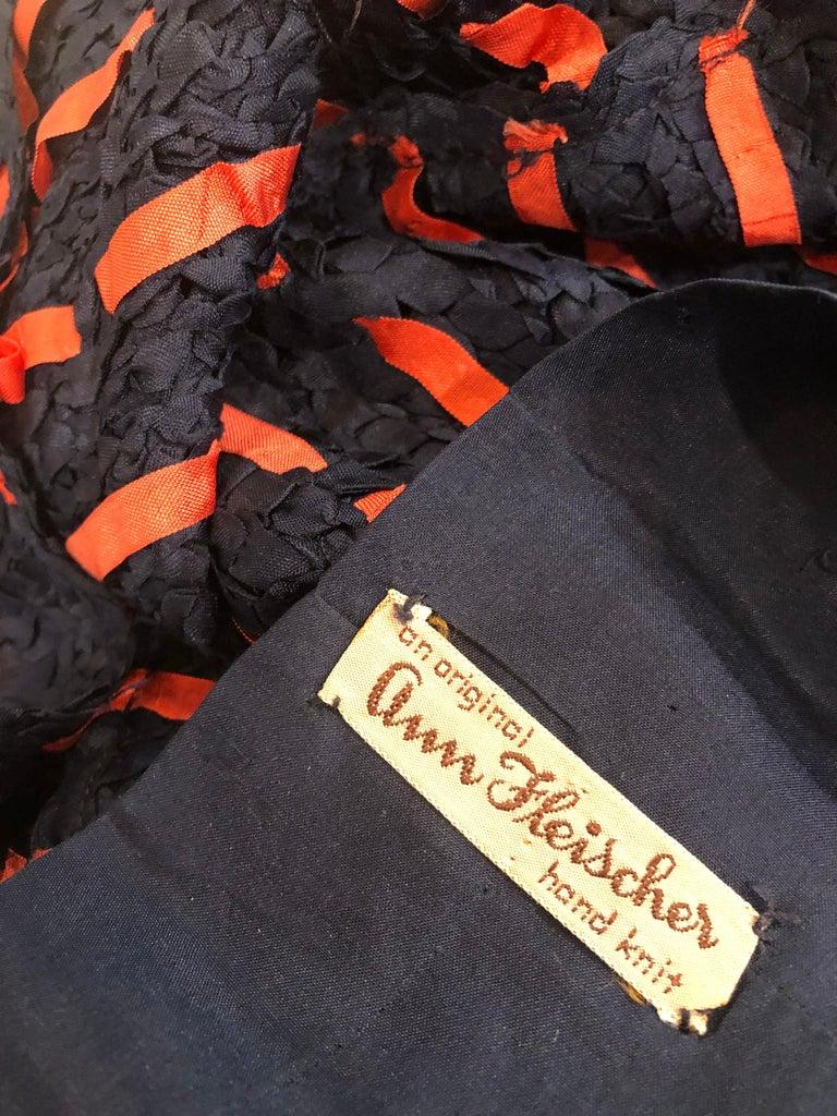 Black 1950s Ann Fleischer for I Magnin Hand Ribbon Knit Navy Blue + Red Vintage Dress For Sale