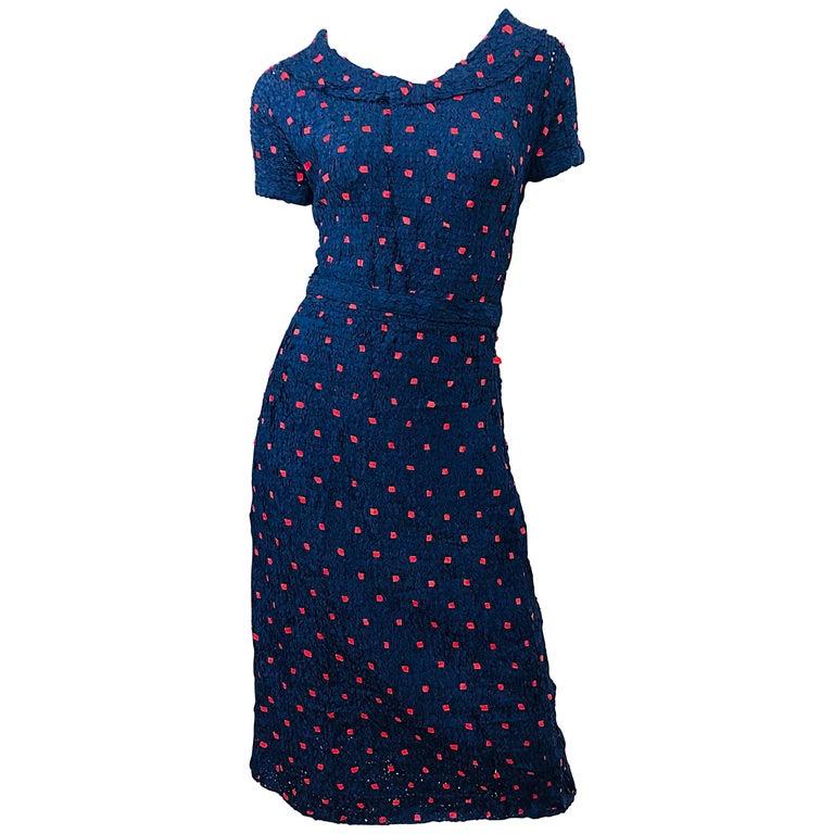 1950s Ann Fleischer for I Magnin Hand Ribbon Knit Navy Blue + Red Vintage Dress For Sale