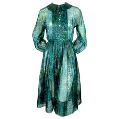 1950's ANNE FOGARTY emerald green & blue silk printed dress