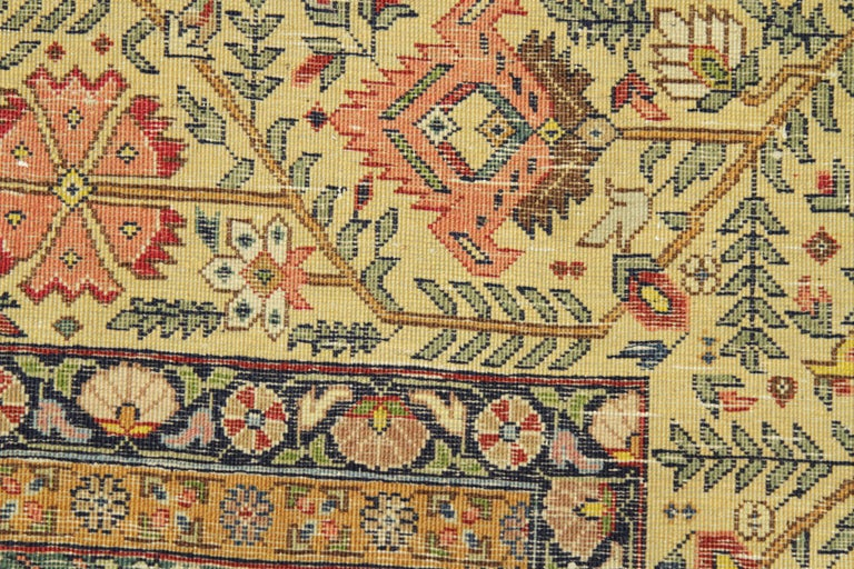 1950s Antique Persian Rug Tabriz Design With Gold And Red