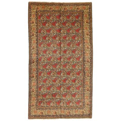 1950s Antique Persian Rug Tabriz Design with Gold and Red Field of Roses Pattern