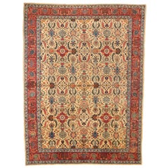 1950s Antique Persian Tabriz Rug with Lush 'Herati' Patterns in Red and Black