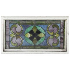 1950s Antique Stained Glass Window with Aluminum Frame Done in Blue and Green