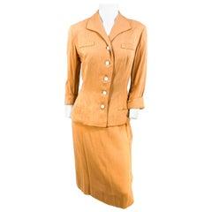 1950s Apricot Linen Suit