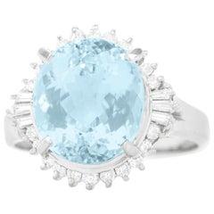 1950s Aquamarine and Diamond-Set Platinum Ring