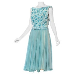 1950S Aquamarine Blue Silk Chiffon Beaded Party Cocktail Dress