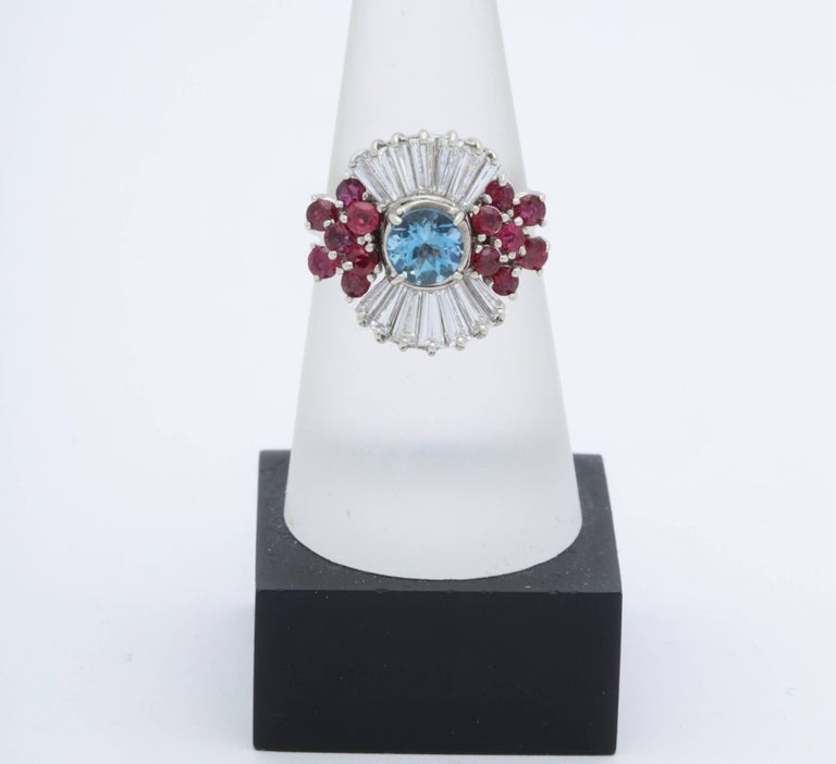 Baguette Cut 1950s Aquamarine, Ruby with Baguette Diamonds, White Gold Ballerina Fancy Ring For Sale