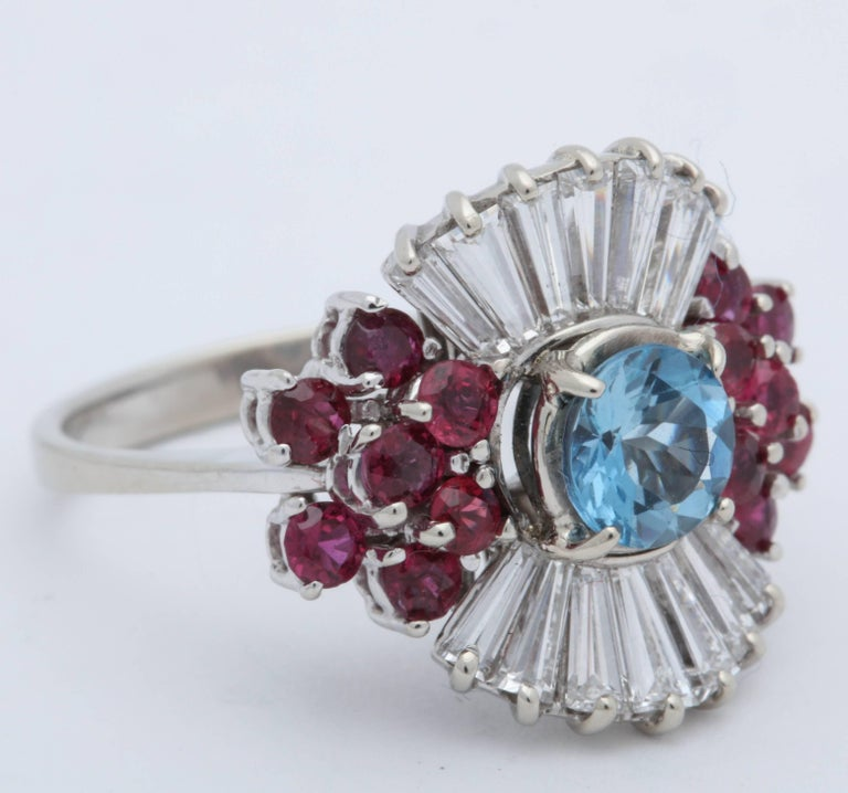 1950s Aquamarine, Ruby with Baguette Diamonds, White Gold Ballerina Fancy Ring In Excellent Condition For Sale In New York, NY