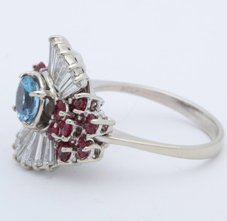 Women's 1950s Aquamarine, Ruby with Baguette Diamonds, White Gold Ballerina Fancy Ring For Sale