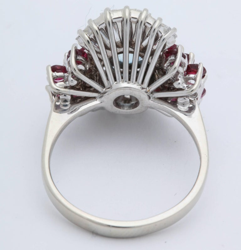1950s Aquamarine, Ruby with Baguette Diamonds, White Gold Ballerina Fancy Ring For Sale 1