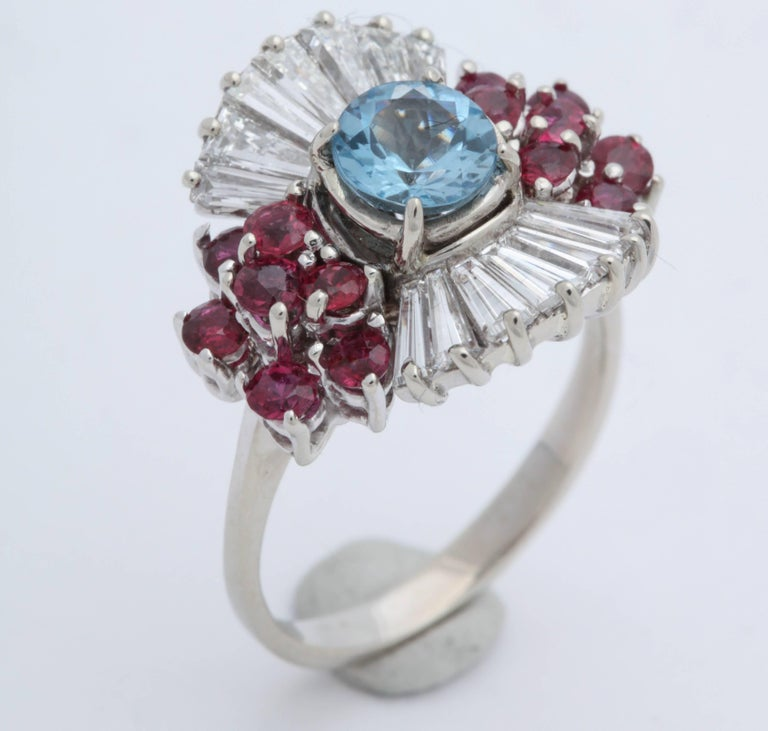 1950s Aquamarine, Ruby with Baguette Diamonds, White Gold Ballerina Fancy Ring For Sale 2