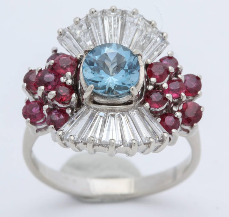 1950s Aquamarine, Ruby with Baguette Diamonds, White Gold Ballerina Fancy Ring For Sale 3