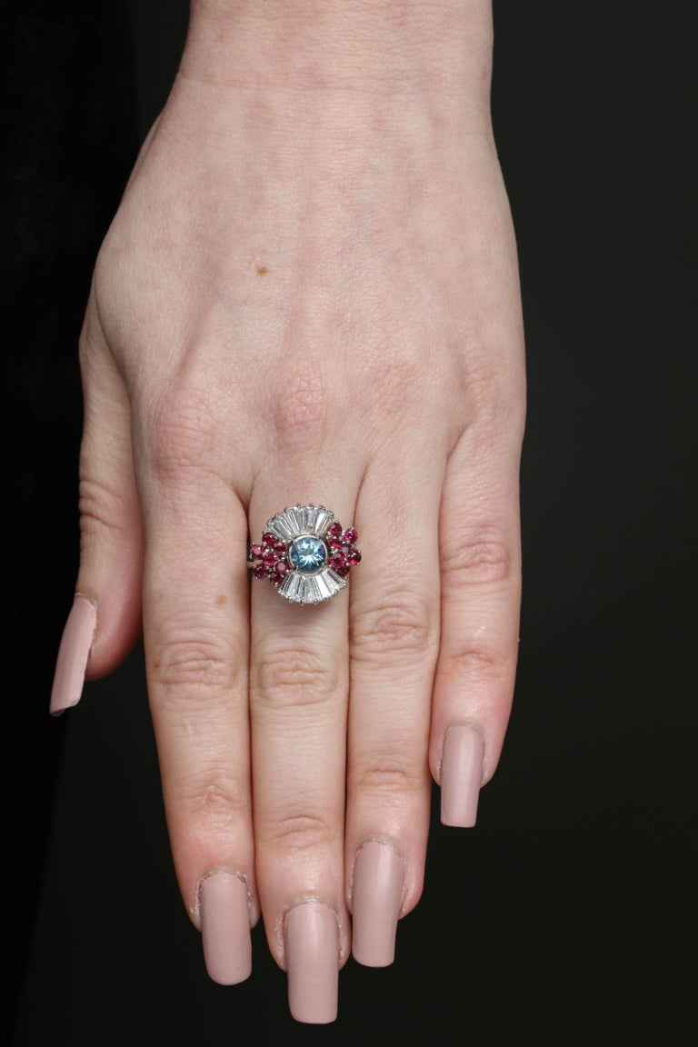 1950s Aquamarine, Ruby with Baguette Diamonds, White Gold Ballerina Fancy Ring For Sale 4