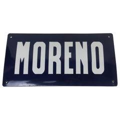 """1950s Argentinian Vintage Blue Enameled Metal Curved Street Sign """"Moreno"""""""
