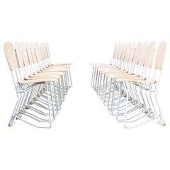 1950s Armin Wirth 'aluflex' Folding Chair for Hans Zollinger Sohre Set of 20