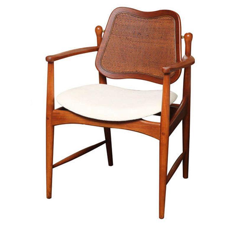 1950s Arne Vodder Teak and Cane Armchair For Sale