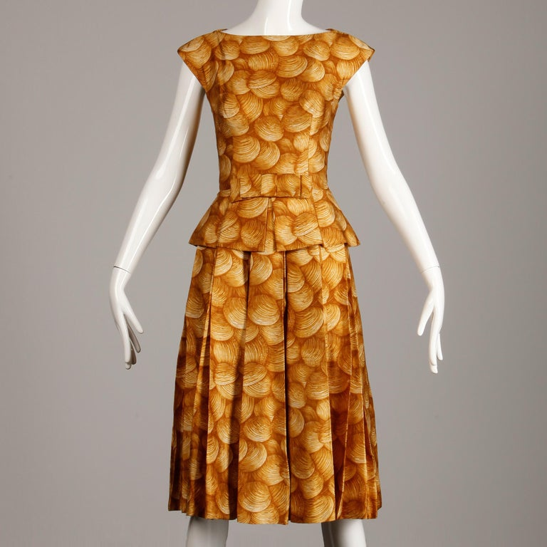 Brown 1950s Arnold Scaasi Vintage Yellow / Gold / Mustard Print Silk Cocktail Dress For Sale