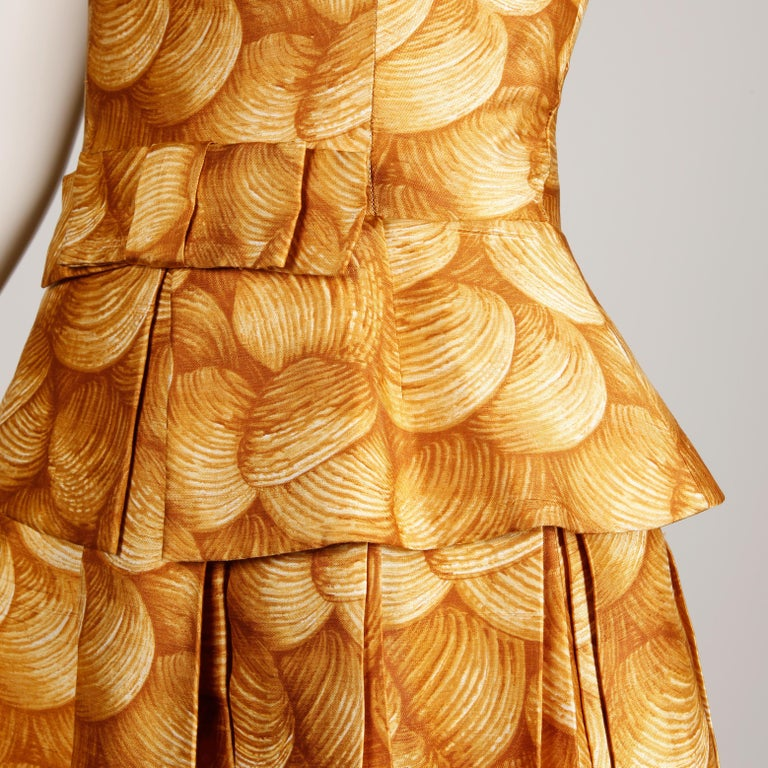 1950s Arnold Scaasi Vintage Yellow / Gold / Mustard Print Silk Cocktail Dress In Excellent Condition For Sale In Sparks, NV